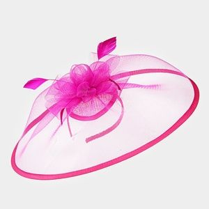 Pink Feather Fascinator Dressy Bow Net Church Hat